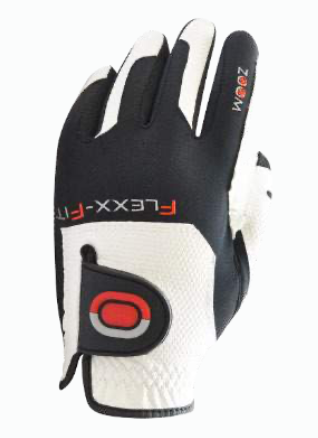 ZOOM WEATHER WHITE+BLACK+RED LEATHER GOLF GLOVE