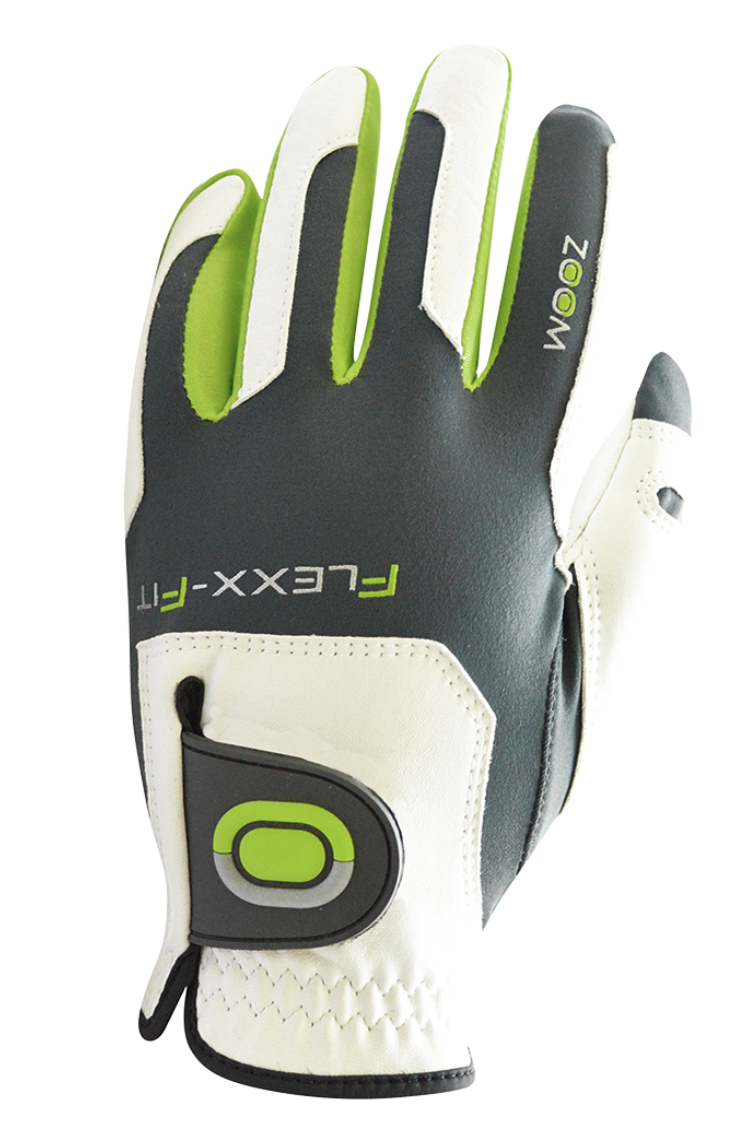 ZOOM TOUR WHITE+CHARCOAL+LIME LEATHER GOLF GLOVE